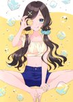 1girl ;q absurdres bare_legs bare_shoulders barefoot blue_eyes blue_nails blue_shorts bubble closed_mouth crop_top feet feet_together hair_ornament hair_over_shoulder hair_scrunchie halterneck hand_up highres holding ice ice_cube long_hair looking_at_viewer low_twintails masuishi_kinoto midriff multicolored multicolored_nails nail_polish navel one_eye_closed original scan scrunchie shirt short_shorts shorts sitting smile solo thighs toenail_polish tongue tongue_out twintails x_hair_ornament yellow_nails yellow_shirt