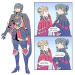 2girls 2koma alternate_hairstyle armor belt black_armor blue_eyes blue_hair blush byleth_(fire_emblem) byleth_(fire_emblem)_(female) comic edelgard_von_hresvelg english_text finger_to_mouth fire_emblem fire_emblem:_three_houses full_body gradient gradient_background hair_tie highres horns lipstick looking_at_another looking_at_viewer looking_away makeup multiple_girls open_mouth purple_eyes radiostarkiller red_armor short_hair smile speech_bubble sword tied_hair weapon white_background white_hair yuri