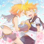 1boy 1girl back bare_shoulders bass_clef belt belt_buckle blonde_hair blush bow brother_and_sister buckle cherry_blossoms closed_eyes commentary_request cowboy_shot crop_top day detached_sleeves eighth_note forehead-to-forehead hair_bow hair_ornament hairclip headphones holding_hands interlocked_fingers kagamine_len kagamine_rin leaning_forward musical_note necktie petals ponytail quarter_note reki_(arequa) sailor_collar short_hair short_sleeves shorts siblings sky smile staff_(music) twins vocaloid white_bow yellow_neckwear