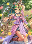1girl chiki fire_emblem_cipher flower gen'ei_ibunroku_sharp_fe green_eyes green_hair hair_ornament long_hair mismi pointy_ears staff