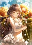 1girl bangs black_hair collarbone commentary day dress eyebrows_visible_through_hair flower hair_ribbon highres holding holding_flower light_blush lium long_hair looking_at_viewer neck_ribbon original outdoors petals ribbon sky smile solo spaghetti_strap sparkle standing sundress sunflower twintails white_dress white_neckwear yellow_eyes yellow_ribbon
