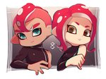 1boy 1girl blue_eyes chromatic_aberration closed_mouth coula_cat dark_skin dark_skinned_male long_hair long_sleeves looking_at_viewer mohawk octarian octoling parted_lips red_hair short_hair single_bare_shoulder single_sleeve splatoon_(series) splatoon_2 splatoon_2:_octo_expansion suction_cups tentacle_hair turtleneck upper_body yellow_eyes