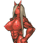 1girl abs areolae breasts hair_over_one_eye highres horns huge_nipples large_areolae large_breasts looking_at_viewer monster_girl multicolored_eyes muscle nameo_(judgemasterkou) nipples nude oni original red_eyes red_oni red_skin silver_hair solo yellow_eyes