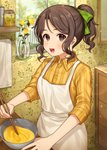 1girl :d apron blurry blurry_background blush bow brown_eyes brown_hair brown_skirt chopsticks collared_shirt commentary_request day depth_of_field dress_shirt fingernails flower green_bow hair_bow high_ponytail highres holding holding_chopsticks indoors karokuchitose looking_at_viewer mixing_bowl open_mouth original ponytail rose shirt sidelocks skirt smile solo striped striped_shirt vase vertical-striped_shirt vertical_stripes white_apron white_flower window yellow_flower yellow_rose