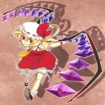 1girl aarue bad_id bad_pixiv_id blonde_hair flandre_scarlet hat mary_janes red_eyes shoes short_hair solo touhou wings
