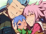 1girl 2boys arche_klein baby blue_hair chester_barklight closed_eyes falken_barklight family father_and_son group_hug hug husband_and_wife long_hair mifuta mother_and_son multiple_boys pink_hair ponytail purple_eyes short_hair smile tales_of_(series) tales_of_phantasia