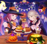 2girls :p ahriman au_ra blonde_hair breasts cat_tail cleavage cupcake detached_collar dragon_horns drinking_straw facial_mark final_fantasy final_fantasy_xiv food ghost halloween hat horns indoors jack-o'-lantern long_hair medium_breasts miqo'te moko_(user_vnsh2874) multiple_girls open_mouth purple_eyes red_hair scales short_hair tail tongue tongue_out witch_hat yellow_eyes