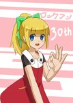 1girl 2578221183 anniversary bangs blonde_hair blue_eyes blunt_bangs blush bow capcom child copyright_name dress eyebrows_visible_through_hair fringe green_bow hair_bow hair_ornament hand_gesture highres long_hair looking_at_viewer looking_to_the_side open_mouth rockman rockman_11 roll sidelocks simple_background smile solo teeth text