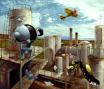 airplane awl blue_sky chimney cloud factory grass ladder magnemite mawile no_humans paper pokemon registeel rust sky swing zenmai_hizu