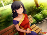 1girl asymmetrical_clothes bangle bangs bare_shoulders beli_lapran bench black_hair blunt_bangs bracelet commentary dark_skin game_cg highres huniepop indian indian_clothes jewelry long_hair looking_at_viewer ninamo official_art park park_bench red_eyes sari smile solo watermark