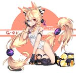 alternate_costume animal_ears bangs blonde_hair breasts closed_mouth eyebrows_visible_through_hair g41_(girls_frontline) girls_frontline hair_between_eyes heterochromia highres long_hair low-tied_long_hair low_twintails mismatched_legwear name_tag red_eyes school_swimsuit simple_background small_breasts summer swimsuit twintails user_egcj3434 very_long_hair white_swimsuit