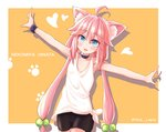 1girl ahoge animal_ears armpits arms_up bike_shorts cat_ears character_name choker hair_bobbles hair_ornament highres hinata_channel long_hair low_twintails nekomiya_hinata open_mouth outstretched_arms pink_hair shimodzuki_no_lapis shorts smile solo twintails upper_body vest virtual_youtuber watch white_vest wristwatch