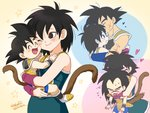 1girl 3boys :d :p >_< ^_^ armor arms_around_neck bardock bare_arms bare_shoulders beige_background black_eyes black_hair blue_background blue_outline blush boots breasts brothers carrying cheek-to-cheek closed_eyes closed_mouth collarbone couple dot_nose dragon_ball dragon_ball_minus dragon_ball_super_broly eyebrows_visible_through_hair eyelashes facial_scar family father_and_son fingernails flying_sweatdrops forehead_kiss gine happy heart hetero hug hug_from_behind kalno kiss looking_at_another looking_up medium_breasts monkey_tail mother_and_son multiple_boys nervous one_eye_closed open_mouth outline pink_background profile purple_outline raditz scar scar_on_cheek siblings signature simple_background smile smiley_face son_gokuu spiked_hair star starry_background sweatdrop tail tongue tongue_out twitter_username wavy_mouth white_footwear wristband