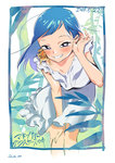 1girl adjusting_hair animal animal_on_shoulder bangs bare_arms bent_over blue_border blue_hair blush border bright_pupils copyright_name cowboy_shot dated dress fukushi_ryouhei grin hair_tucking highres ichijiku_yuri leaf lizard long_hair looking_at_viewer madonna_wa_glass_case_no_naka mole mole_under_eye outdoors purple_eyes signature smile solo standing sundress tree white_dress