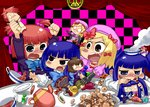 4girls :< :> :d arms_up beatrice blonde_hair blue_eyes blue_hair blush bow brown_hair candy character_doll checkerboard_cookie checkered checkered_background chibi cookie cup doll dress elbow_gloves etori fang flower food formal frederica_bernkastel frills furudo_erika gloves hair_bobbles hair_ornament hat highres lambdadelta long_hair multiple_girls o_o object_on_head open_mouth pink_hat ponytail purple_eyes red_eyes red_hair short_hair smile steam suit sweat teacup teapot tears twintails umineko_no_naku_koro_ni ushiromiya_ange ushiromiya_battler ushiromiya_krauss ushiromiya_natsuhi