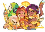 4girls blush closed_eyes commentary cup dark_skin drinking_glass fangs food fruit green_eyes hime_(splatoon) iida_(splatoon) inkling locked_arms mole mole_under_mouth multiple_girls octoling orange orange_juice orange_slice smile splatoon splatoon_2 splatoon_2:_octo_expansion squidbeak_splatoon symbol-shaped_pupils tentacle_hair wong_ying_chee yellow_eyes