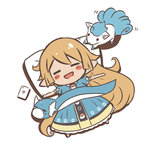 1girl :d alolan_vulpix blonde_hair blue_dress blush_stickers cellphone character_request charlotta_(granblue_fantasy) chibi closed_eyes crossover dratini dress from_above full_body granblue_fantasy long_hair looking_at_another lying motion_lines o_(rakkasei) on_back open_mouth outstretched_arms phone pillow pointy_ears pokemon pokemon_(creature) pokemon_go puffy_short_sleeves puffy_sleeves short_sleeves sleeping smartphone smile solid_oval_eyes spread_arms very_long_hair vulpix white_background