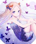 1girl abigail_williams_(fate/grand_order) adapted_costume bangs bare_arms bare_shoulders black_bow blonde_hair bloomers blue_eyes blush bow bug butterfly closed_mouth commentary_request copyright_name dated dress fate/grand_order fate_(series) forehead hair_bow highres insect knees_up long_hair looking_at_viewer orange_bow parted_bangs polka_dot polka_dot_bow purple_dress sanka_tan signature sleeveless sleeveless_dress smile solo underwear very_long_hair white_bloomers