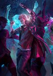 2boys 3girls arms_up black_gloves blue_coat blue_legwear bracelet closed_eyes coat dancing devil_may_cry devil_may_cry_5 fingerless_gloves gloves highres jewelry lens_flare long_hair multiple_boys multiple_girls necklace neon_lights nero_(devil_may_cry) parted_lips red_shirt shirt sleeves_rolled_up smile standing tin_nijigen white_hair white_shirt