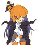1girl blue_hair cape corset food_themed_hair_ornament gloves hair_ornament halloween_costume hand_on_own_chin hat jack-o'-lantern long_hair looking_at_viewer love_live! love_live!_sunshine!! one_eye_closed pumpkin_hair_ornament pumpkin_mask red_eyes solo tongue tongue_out tsushima_yoshiko upper_body ushiki_yoshitaka white_gloves witch_hat