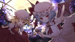 2girls ascot bat bat_wings blonde_hair blue_hair brooch crystal dress fang flandre_scarlet frilled_shirt frilled_shirt_collar frilled_sleeves frills full_moon hat hat_ribbon holding holding_microphone jewelry looking_at_viewer microphone mob_cap moon multiple_girls night one_eye_closed one_side_up open_mouth otoufu_(gotouhu) pink_dress puffy_short_sleeves puffy_sleeves red_eyes red_ribbon red_skirt red_vest remilia_scarlet ribbon shirt short_hair short_sleeves siblings side_ponytail sisters skirt skirt_set smile touhou vest white_shirt wings yellow_neckwear