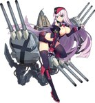 1girl azur_lane bangs bare_shoulders between_legs black_footwear black_gloves black_hat black_legwear blue_eyes blunt_bangs boots breasts breasts_outside candy covered_nipples detached_sleeves eyebrows eyebrows_visible_through_hair food full_body garrison_cap glasses gloves gneisenau_(azur_lane) hat knee_boots leaning_forward lollipop long_hair looking_at_viewer machinery medium_breasts mole mole_under_eye nipples no_bra ntrsis official_art purple_hair red-framed_eyewear revision solo tachi-e thighhighs transparent_background turret white_background zettai_ryouiki