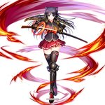 1girl armor armored_boots bangs black_legwear blue_eyes boots breasts copyright_name eyebrows_visible_through_hair fire full_body gauntlets glowing glowing_weapon hair_ribbon holding holding_weapon kami_project katana komori_kei long_hair looking_at_viewer medium_breasts official_art pleated_skirt purple_ribbon red_skirt ribbon ryuuzouji_akane sheath shoes shoulder_armor simple_background skirt solo standing sword thighhighs uniform walkure_romanze weapon white_background zettai_ryouiki
