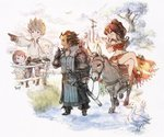 4boys 4girls bird bravely_default:_flying_fairy bravely_default_(series) brown_hair company_connection creator_connection crossover dragonfly duck everyone fence highres insect mole mole_under_mouth multiple_boys multiple_girls official_art olberic_eisenberg pointing primrose_azelhart project_octopath_traveler riding sheep smile spiked_hair square_enix tiz_oria yoshida_akihiko