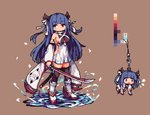 azur_lane backless_outfit black_legwear blue_eyes blue_hair breasts brown_background chibi color_guide commentary_request detached_sleeves full_body hanging heterochromia horns ibuki_(azur_lane) ino_futon katana long_hair looking_at_viewer pixel_art red_eyes sheath sideboob standing standing_on_liquid sword thighhighs weapon wide_sleeves