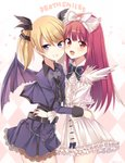 2girls bat_ornament bat_wings belt black_bow black_ribbon blonde_hair bow casper_(deathsmiles) copyright_name deathsmiles dress english hair_bow hug long_hair long_sleeves multiple_girls purple_dress purple_eyes red_eyes red_hair rento_(rukeai) ribbon short_hair title triangle twintails white_dress windia_(deathsmiles) wings