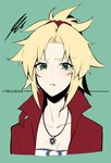 1girl absurdres blonde_hair braid breasts character_name collarbone commentary_request fate/grand_order fate_(series) frown green_background green_eyes hair_ornament hair_scrunchie highres jacket jewelry long_hair looking_at_viewer mordred_(fate) mordred_(fate)_(all) necklace ponytail red_jacket red_scrunchie scrunchie shirt simple_background solo takatun223 white_shirt
