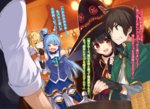 1boy 2girls :d =_= >:d aqua_(konosuba) black_gloves black_hair blonde_hair blue_hair blue_shirt blue_skirt boots cape capelet casino clenched_teeth closed_eyes collarbone darkness_(konosuba) detached_sleeves elbow_gloves fingerless_gloves gloves gold green_eyes hair_ornament hat highres indoors kono_subarashii_sekai_ni_shukufuku_wo! long_hair megumin mishima_kurone multiple_girls novel_illustration official_art open_mouth pleated_skirt ponytail red_eyes roulette_table satou_kazuma shirt skirt smile teeth thigh_boots thighhighs translation_request witch_hat x_hair_ornament
