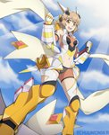 1girl :d absurdres bare_shoulders bodysuit brown_eyes brown_hair chuunioniika clenched_hands commentary english_commentary gloves headgear highres navel_cutout open_mouth orange_eyes scarf senki_zesshou_symphogear short_hair smile solo tachibana_hibiki_(symphogear) thighhighs twitter_username