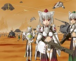 6+girls animal_ears clone commentary_request detached_sleeves energy_sword geonosis gloves gun hat inubashiri_momiji konpaku_youmu lightsaber multiple_girls parody red_eyes rifle short_hair silver_hair star_wars sword tail thighhighs tokin_hat touhou u.s.m.c ufo weapon wolf_ears wolf_tail