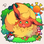 :3 :d blue_sky chibi cloud commentary_request fang flareon gen_1_pokemon green_eyes highres looking_at_viewer mushroom muuran no_humans open_mouth poke_ball poke_ball_(generic) pokemon pokemon_(creature) signature sky smile solo sparkle sun