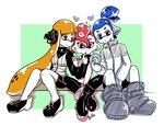 1girl 2boys artist_name bangs black_eyes blue_eyes blue_hair blunt_bangs boots closed_mouth domino_mask donut_(zoza) doughnut finger_to_mouth food foreshortening giving green_background headgear heart holding holding_food inkling jacket long_sleeves mask midriff multiple_boys namesake octarian octoling orange_eyes orange_hair outside_border pants parted_lips partially_colored pointy_ears pudding pudding_(zoza) red_hair scrunchie shadow sharing_food shoes shorts signature single_sleeve single_vertical_stripe sitting smile sparkle splatoon splatoon_1 splatoon_2 splatoon_2:_octo_expansion squidbeak_splatoon tentacle_hair topknot vest zoza