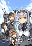 4girls ahoge akizuki_(kantai_collection) anchor_symbol arm_up bending_forward black_bodysuit black_gloves black_hair black_headband black_sailor_collar black_skirt blue_eyes blue_sky blurry blurry_background bodysuit braid brown_hair chou-10cm-hou-chan chou-10cm-hou-chan_(hatsuzuki's) chou-10cm-hou-chan_(suzutsuki's) chou-10cm-hou-chan_(teruzuki's) closed_eyes clothes_writing cloud cloudy_sky commentary_request ebizome eyebrows_visible_through_hair gloves grey_eyes grey_jacket hachimaki hair_flaps hair_ornament hatsuzuki_(kantai_collection) headband jacket kantai_collection light_brown_hair light_smile lips long_hair looking_at_viewer miniskirt multiple_girls neckerchief one_side_up open_mouth outstretched_hand pantyhose pleated_skirt ponytail propeller_hair_ornament sailor_collar short_hair silver_hair skirt sky suzutsuki_(kantai_collection) teruzuki_(kantai_collection) twin_braids upper_body white_bodysuit white_gloves white_neckwear