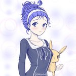 1girl adapted_costume alternate_hair_length alternate_hairstyle beehive_hairdo blue_eyes blue_hair blush breasts bubble_background chaesu character_doll collarbone commentary crossover eevee english_commentary hair_pulled_back hairband looking_at_viewer orie_(under_night_in-birth) pajamas pokemon pokemon_(creature) solo stuffed_animal stuffed_toy twitter_username under_night_in-birth updo white_hair