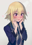 1girl bangs blazer blonde_hair blush commentary_request embarrassed eyebrows_visible_through_hair fate/apocrypha fate_(series) flying_sweatdrops formal hair_between_eyes hands_on_own_cheeks hands_on_own_face heart jacket jeanne_d'arc_(fate) jeanne_d'arc_(fate)_(all) looking_down necktie open_mouth purple_eyes solo upper_body walzrj wristband