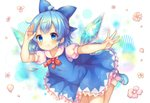 1girl ahoge arm_up bangs blue_bow blue_dress blue_eyes blue_footwear blue_hair bow cirno commentary_request detached_wings dress eyebrows_visible_through_hair flower frilled_dress frills hair_bow highres ice ice_wings mary_janes mouth_hold neck_ribbon outstretched_arm petals pinafore_dress pink_flower pjrmhm_coa puffy_short_sleeves puffy_sleeves red_neckwear red_ribbon ribbon salute shoes short_sleeves socks solo spread_fingers touhou white_legwear wings