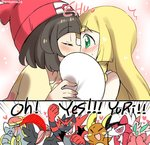 2girls :d >_< alola_form alolan_raichu beanie blonde_hair blue_eyes blush brown_hair closed_eyes commentary_request covering_eyes covering_mouth drooling english eromame female_protagonist_(pokemon_sm) fist_pump green_eyes hands_clasped hat heart hime_cut implied_kiss incineroar jpeg_artifacts kommo-o lillie_(pokemon) long_hair lurantis lycanroc multiple_girls onomatopoeia open_mouth orchid_mantis pokemon pokemon_(creature) pokemon_(game) pokemon_sm praying_mantis raichu short_hair smile surprised toucannon xd yuri