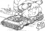 6+girls animal_ears bow cannon caterpillar_tracks cirno detached_sleeves disney enajii ghost giving_up_the_ghost gohei greyscale ground_vehicle hakurei_reimu kawashiro_nitori kochiya_sanae md5_mismatch mickey_mouse military military_vehicle monochrome motor_vehicle mouse_ears multiple_girls nazrin radiation_symbol rope shide shimenawa sketch t-34 tank touhou yasaka_kanako yukkuri_shiteitte_ne