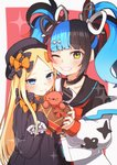 2girls abigail_williams_(fate/grand_order) bag bangs black_bow black_dress black_hair black_headwear black_nails black_sailor_collar black_serafuku black_shirt blonde_hair blue_eyes blue_hair blunt_bangs blush border bow box breasts closed_mouth collar dress eyewear_hang eyewear_removed fate/grand_order fate_(series) forehead gift gift_box grin hair_bow hat heart-shaped_box highres holding holding_gift jacket long_hair long_sleeves looking_at_viewer medium_breasts multicolored_hair multiple_bows multiple_girls off-shoulder_jacket one_eye_closed orange_bow parted_bangs pink_background polka_dot polka_dot_bow red_hair red_neckwear ribbed_dress sailor_collar sato_(r017xts117) school_uniform sei_shounagon_(fate) serafuku shirt shoulder_bag sleeves_past_fingers sleeves_past_wrists small_breasts smile sparkle stuffed_animal stuffed_toy teddy_bear twintails valentine white_bag white_border white_jacket yellow_eyes