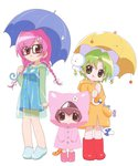 3girls :q boots bow braid candy cheek_bulge dejiko di_gi_charat dice_hair_ornament food full_body glasses hair_ornament holding holding_umbrella looking_at_viewer multiple_girls pink_footwear puchiko raincoat red_footwear rubber_boots sakai_kyuuta simple_background standing tail tail_bow teruterubouzu tongue tongue_out twin_braids umbrella usada_hikaru white_background