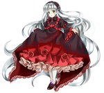 1girl absurdly_long_hair bad_id bangs blunt_bangs chin_strap dress flower frills full_body gosick gosick_red green_eyes hairband high_heels lolita_fashion long_hair looking_at_viewer open_mouth pantyhose ribbon silver_hair simple_background solo standing tooda_riko very_long_hair victorica_de_blois white_background white_legwear