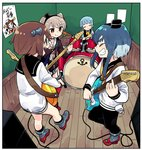 4girls amatsukaze_(kantai_collection) amplifier anchor_symbol band bangs bass_guitar black_legwear black_sailor_collar blouse blunt_bangs border brown_dress brown_hair cable cameo closed_eyes closed_mouth commentary_request dress drum drum_set drumsticks electric_guitar facing_another finger_gun fisheye garter_straps grey_footwear guitar hatsukaze_(kantai_collection) headset holding holding_instrument indoors instrument kantai_collection lifebuoy light_blue_hair long_hair long_sleeves looking_at_another multiple_girls music naka_(kantai_collection) neckerchief open_mouth orange_eyes outstretched_leg platinum_blonde_hair playing_instrument red_footwear room rudder_shoes sailor_collar sailor_dress shirt short_dress short_hair short_hair_with_long_locks sidelocks sideways_mouth sign sitting sleeve_cuffs socks standing straight_hair thick_eyebrows tokitsukaze_(kantai_collection) tonmoh translation_request two_side_up wall white_border white_pupils white_shirt wooden_floor wooden_wall yellow_neckwear yukikaze_(kantai_collection)