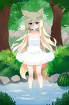 1girl animal_ears blonde_hair commentary cp00 dog_ears dog_tail dress dress_lift flat_chest food forest fruit hat highres lifted_by_another long_hair mouth_hold nature original outdoors popsicle purple_eyes solo sundress tail tree wading water watermelon white_dress