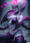 1girl blade blue_skin breasts claws dated deviantart_username evelynn fiery_hair hair_between_eyes hand_on_own_cheek highres large_breasts league_of_legends looking_at_viewer mirco_cabbia navel parted_lips patreon_username pink_lips purple_legwear short_hair_with_long_locks signature sitting slit_pupils smile solo thighhighs white_hair yellow_eyes