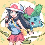 1girl :d bag bangs bare_arms bare_shoulders blue_(pokemon) blue_shirt breasts brown_hair commentary cowboy_shot fangs fangs_out grey_eyes hat highres holding holding_poke_ball ivysaur leaf long_hair looking_at_viewer medium_skirt nazonazo_(nazonazot) open_mouth orange_background pink_skirt poke_ball pokemon pokemon_(creature) pokemon_(game) pokemon_frlg shirt shoulder_bag sidelocks skirt sleeveless sleeveless_shirt small_breasts smile standing super_smash_bros. white_hat wristband