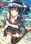 1girl bangs beach black_hair black_legwear blazer blush breasts cleavage closed_mouth collarbone commentary_request crab damaged day eyebrows_visible_through_hair full_body hair_between_eyes hatsushimo_(kantai_collection) headband jacket kantai_collection kazu_(otonoki86) legs long_hair looking_at_viewer low-tied_long_hair machinery outdoors pleated_skirt red_eyes sand school_uniform single_thighhigh sitting skirt small_breasts smoke smokestack solo thighhighs thighs torn_clothes torpedo_tubes wariza water weapon